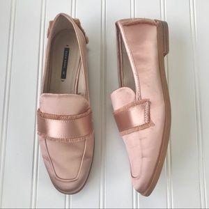 Zara | Satin Soft Pink Frayed Loafers Flats Size 6